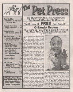Orlando Brown on the Cover of The Pet Press
